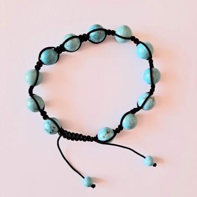 Bracelet shamballa en turquoise reconstituée