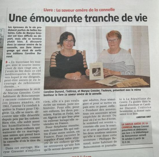 Maryse Gressier dans le Courrier du Loiret